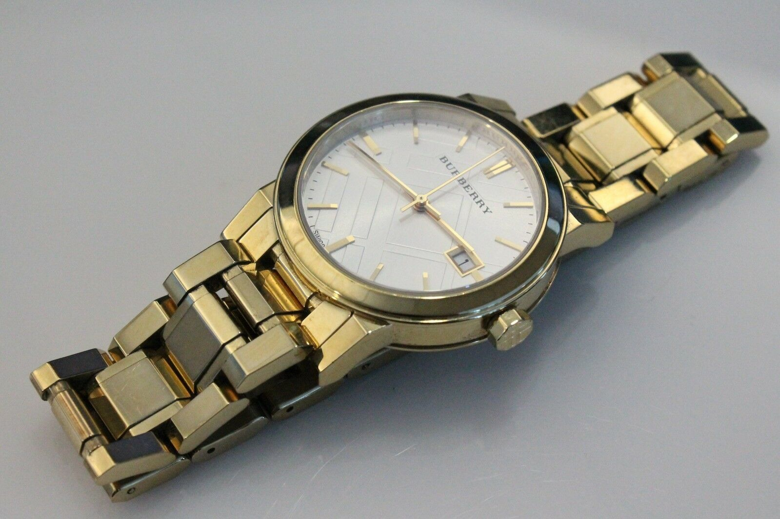 Burberry Unisex Gold Tone Stainless Steel Watch BU9103, Swiss, Sapphire Crystal