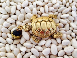 Antique gold-Turtle Pin with Jet-Crystal-Design... - $19.00