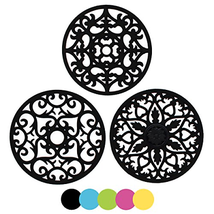 ME.FAN 3 Set Silicone Multi-Use Intricately Carved Trivet Mat - Insulate... - $18.57