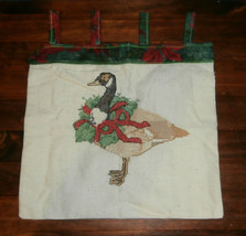 Christmas Goose w/ Wreath Finished Cross Stitch Embroidery Wall Hanging - $9.74