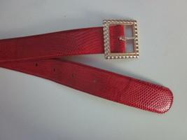 "Womens VINTAGE Red Lizard Belt Size Medium Fits 28 - 32"" Waist Bullocks ... - $28.98"