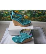Nine West Women Romancing Blue Synthetic Leather Wedge High Heel Shoe Si... - $59.39