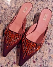 PRADA Italy Silk Rhinestone Jewel Crystal Pointy Toe Pumps Kitten Heel F... - $284.99