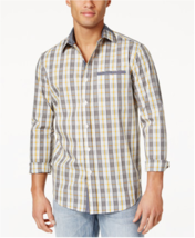 Sean John Men's Cotton Plaid Shirt, Vapor Blue, Size Large - $24.74