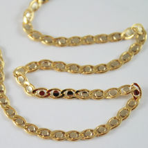 18K YELLOW AND WHITE GOLD CHAIN, EYE FLAT OVAL LINK 3mm NECKLACE MADE IN ITALY image 4