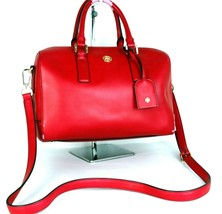 Auth Tory Burch Red PVC  Leather Two Way shoulder Bag Hand Bag Boston Ba... - $127.71
