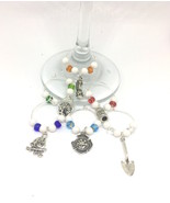 Fire Fighter Theme Wine Charms with Colored Beads x6 Drink Identifiers - $12.99