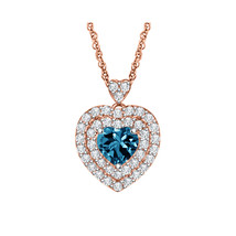 14k Rose Gold Over 925 Silver Blue Topaz Diamond Double Halo Heart Penda... - $49.49