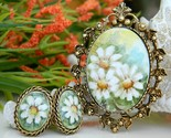 Vintage Hand Painted Porcelain Brooch Pendant Earrings Daisy Signed