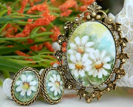 Vintage Hand Painted Porcelain Brooch Pendant Earrings Daisy Signed - $62.95