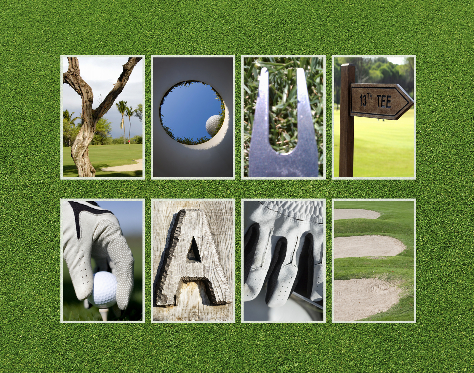 Personalized Golf Letter Art 11 X 14 High Definition Print