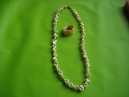 Vintage Mother of Pearl Necklace Boomarang & Carved MOP Ring 6.5 Unique - $24.95