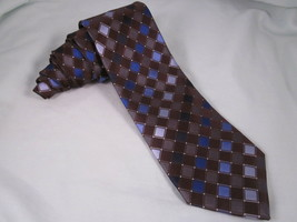 KENNETH COLE REACTION Silk Necktie Diamond Grid Brown Blue Gray White Ne... - $8.96
