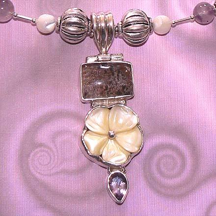 Lodolite Quartz, Mother of Pearl and Amethyst Necklace