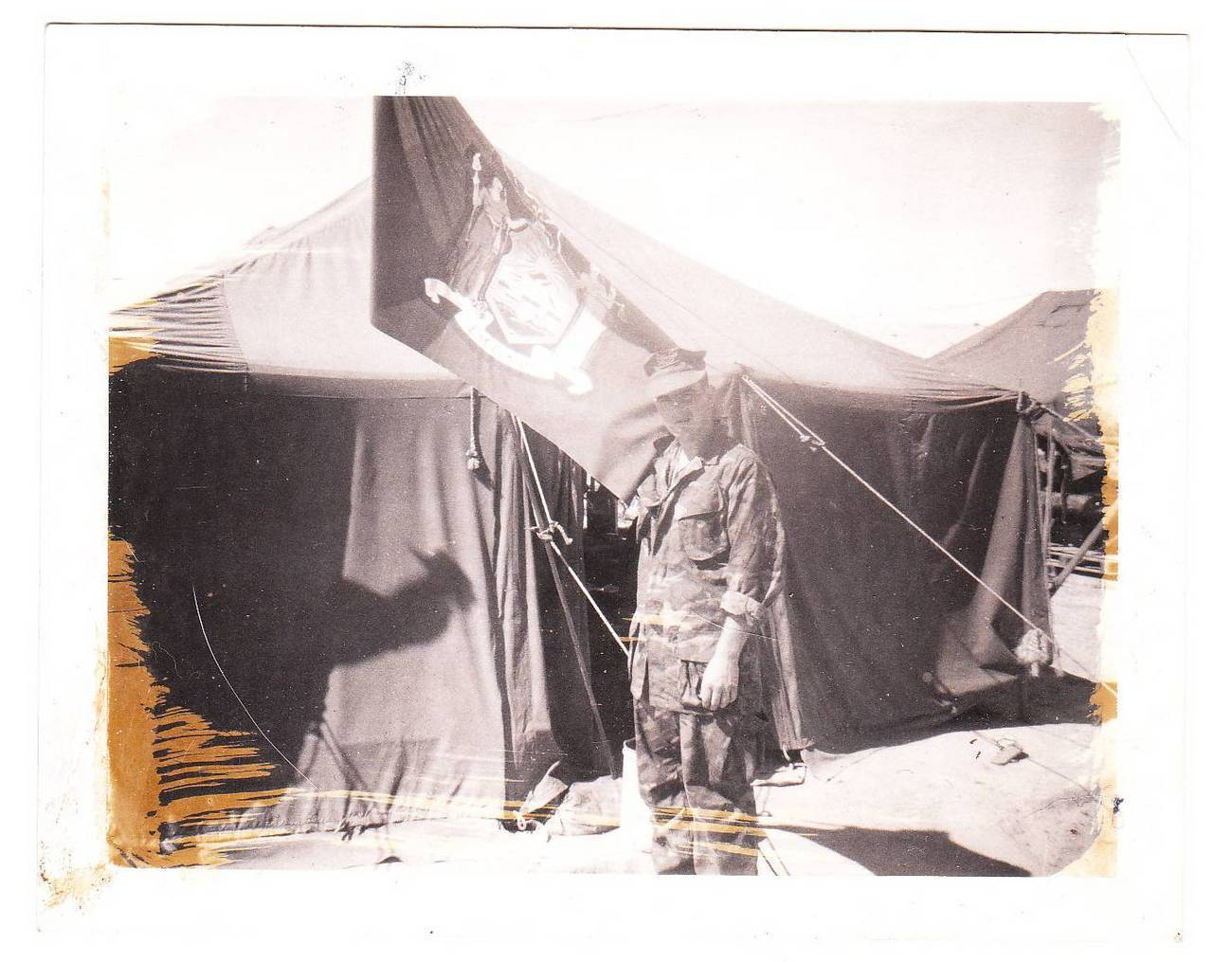 Vintage Photo US Soldier Tent NY State Flag New York