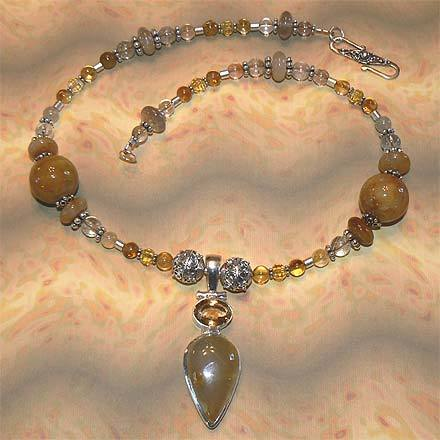 Sterling Silver Rutilated Quartz and Citrine Necklace