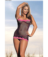 NEW! Shirley Of Hollywood Sexy Lingerie Shimmery Fishnet & Lace Chemise ... - $24.99