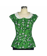 S 36 GREEN WHITE FLORAL EMPIRE WAIST COUTURE PEARL BUTTONS 50s PINUP PEP... - $47.00