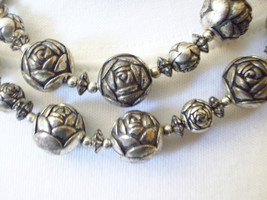 Antiqued Silver Plate ROSES Ball Bead 2 Strand Necklace Vintage Estate C... - $32.66