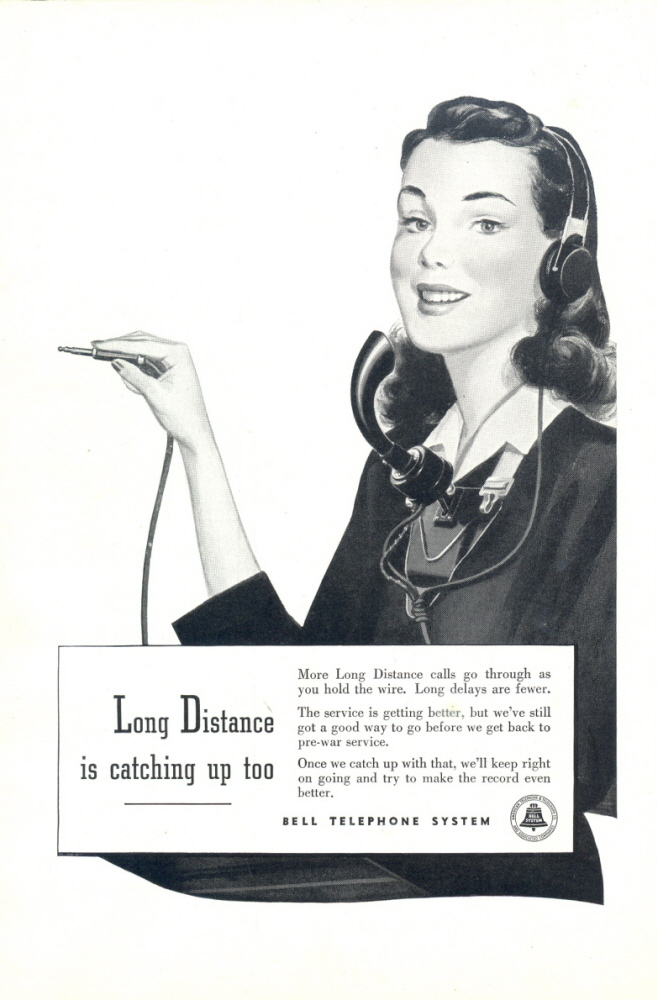 1946 Bell Telephone Long Distance Calls operator print ad