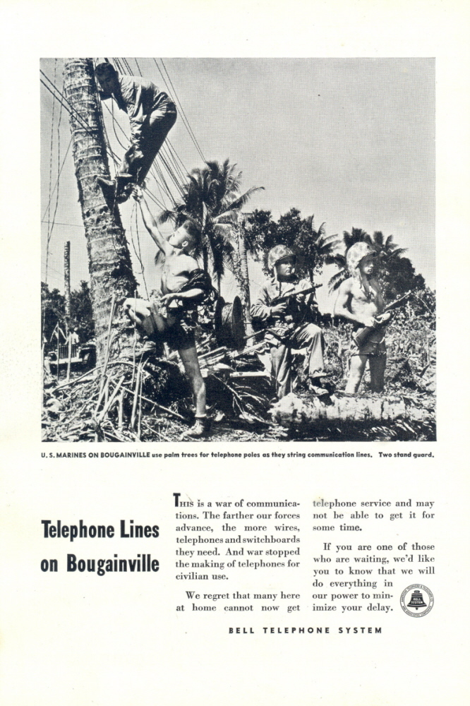 1944 Bell Telephone WWII US Marine in Bougainville print ad