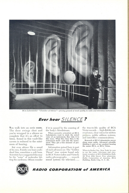 1948 RCA Chamber Of Silence Proving Ground Ears print ad