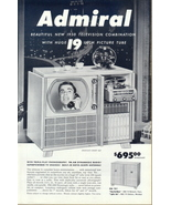 1950 Admiral triple-play Phonograph Radio TV print ad - $10.00