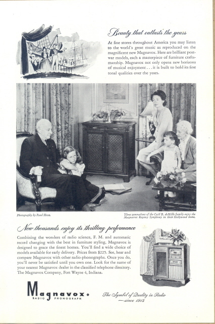 1947 family enjoying Magnavox Radio Phonograph print ad