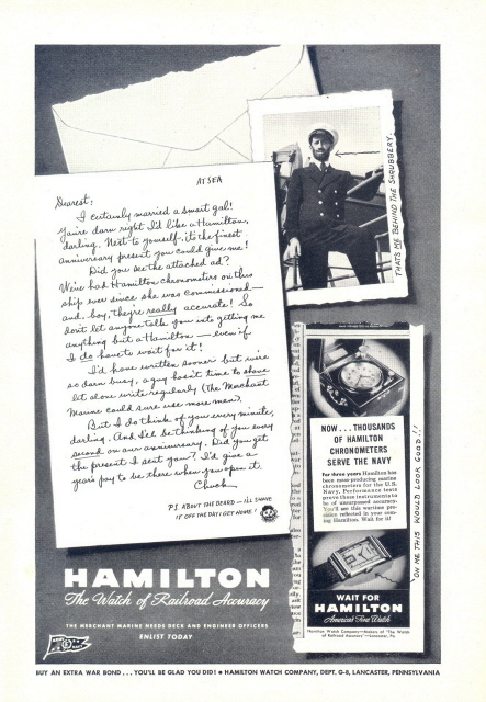 1948 Hamilton Chronometers Watch letter print ad