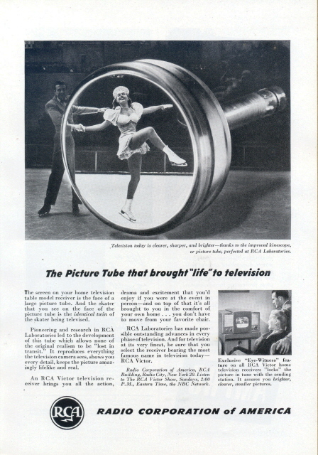 1953 RCA Kinescope picture tube research print ad