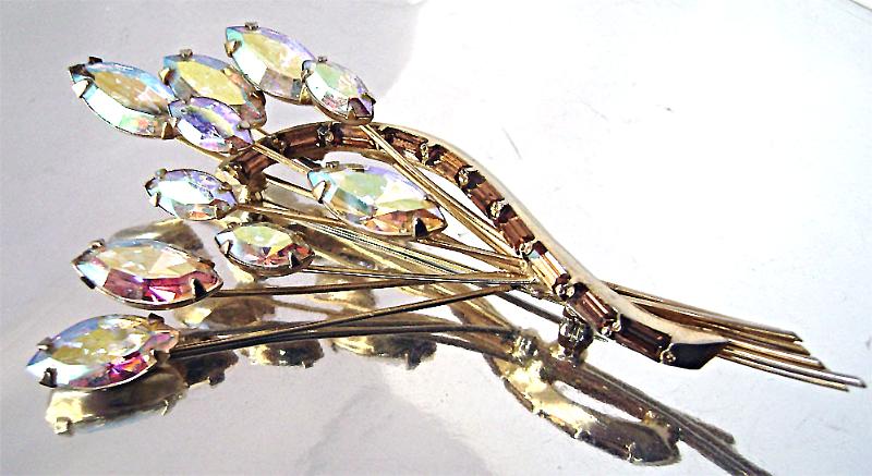 Juliana D&E Style AB Navette Topaz Baguette Rhinestone Big Floral Brooch   - $48.00