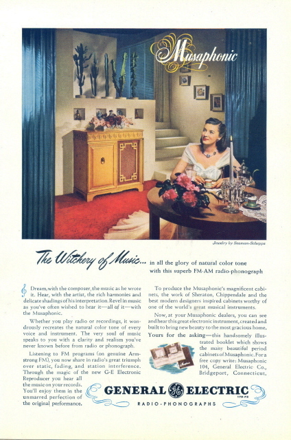 1947 GE Musaphonic FM-AM Radio Phonographs print ad