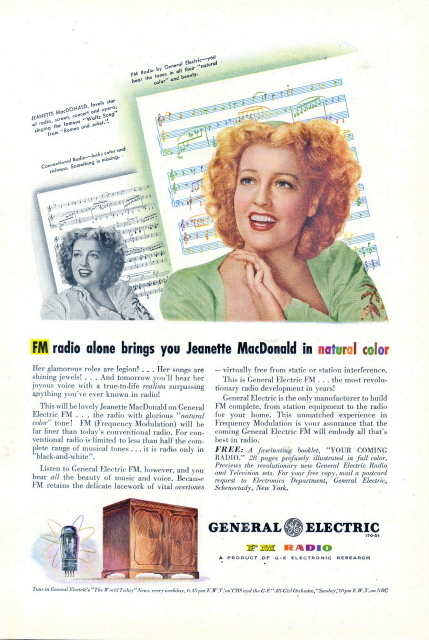 1948 GE FM Radio Jeanette MacDonald song book print ad