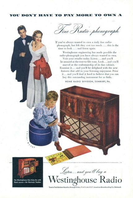 1947 Westinghouse One Sixty-Six Radio Phonograph print ad