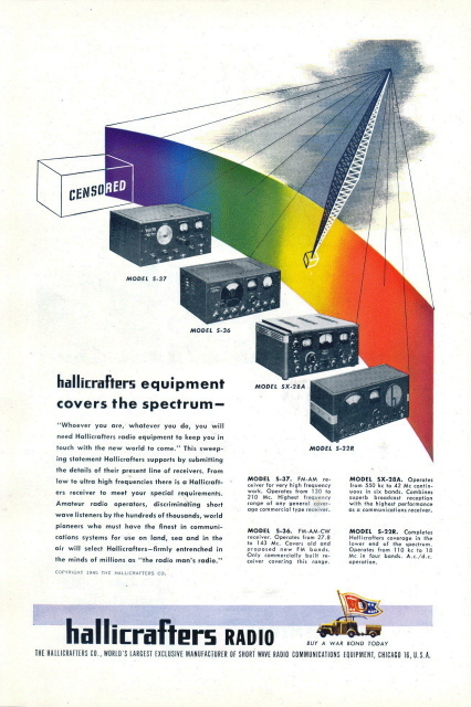 1945 Hallicrafters 4 Radio Equipment model spectrum print ad