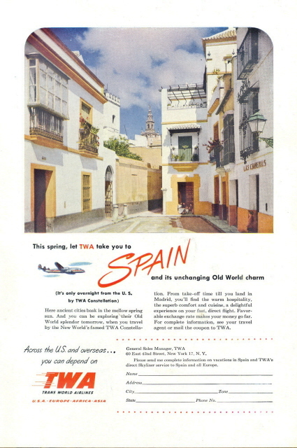 1951 TWA Trans World Airlines to Spain print ad