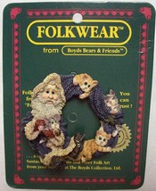 "Boyds FolkWear ""Fuzznick"" Santa & Cats Lapel Pin-#26323- New -1999- Retired - $9.99"