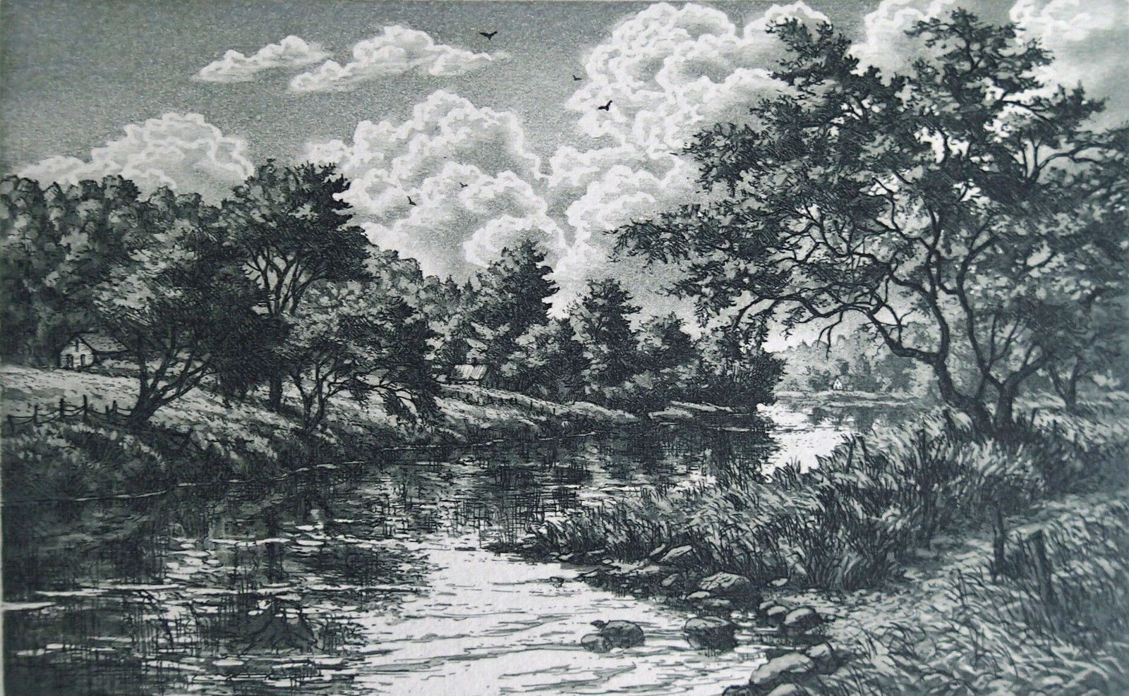 "Kathleen Cantin ""Lost River"" Color etching 5.50 x 3.50 size Retails $60"