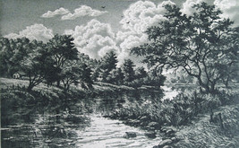 "Kathleen Cantin ""Lost River"" Color etching 5.50 x 3.50 size Retails $60 - $39.99"