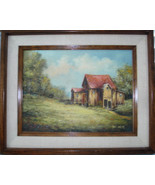 Viki Parez Owens Original oil canvas Countryside Shack with Outhouse Framed - $79.99
