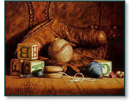 Jim Daly Boyhood Treasures of Baseball Glove and Toys - $79.99