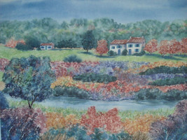 """Shura Young """" Fragant Valley II """" Signed Only Watercolor Villa on Mounta... - $19.99"""