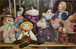 Penny Soto Childrens Clowns and Teddy Toy Shelf S/N Lithograph Retails $90 - $19.99
