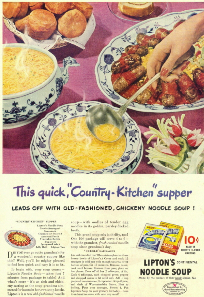 1946 Lipton's Chickeny Noodle Soup table food print ad