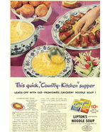 1946 Lipton's Chickeny Noodle Soup table food print ad - $10.00