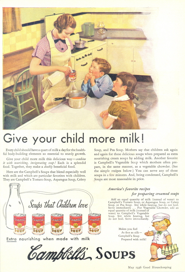 1936 Campbell's Soup Give Your Child More Milk print ad