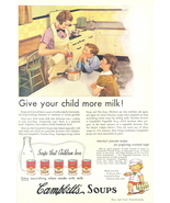 1936 Campbell's Soup Give Your Child More Milk print ad - $10.00