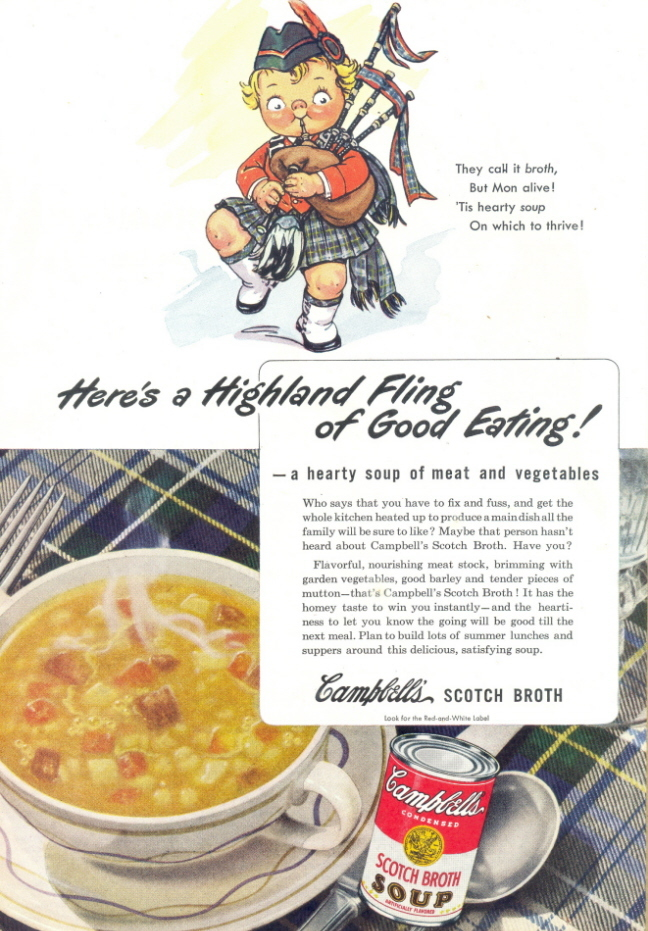 1945 Campbell's Scotch Broth Soup Scottish Pipe print ad