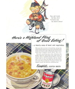 1945 Campbell's Scotch Broth Soup Scottish Pipe print ad - $10.00
