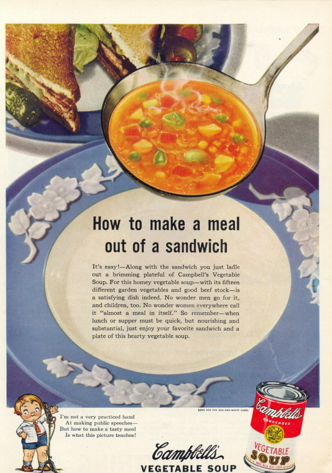 1941 Campbell's Vegetable Soup china plate print ad